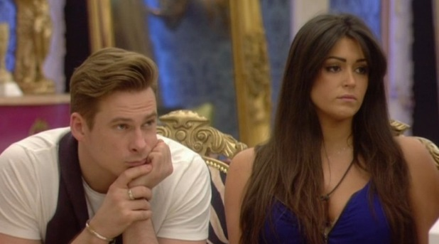 Celebrity Big Brother - aired 23 January 2014. Lee Ryan and Casey Batchelor watching Sam and Ollie's 'sitting fence' task.
