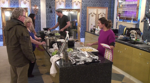 Celebrity Big Brother housemates cook a Sunday roast - 20 Jan 2014