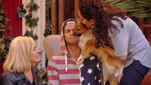 Ollie Locke 's mum, sister and dog visit him in the CBB house, 25 january 2014