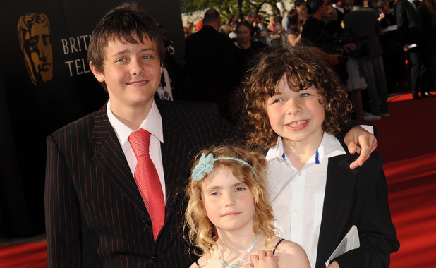 BAFTA Television Awards Arrivals, Royal Festival Hall, London, Britain - 26 Apr 2009 Tyger Drew-Honey, Ramona Marquez and Daniel Roche from Outnumbered