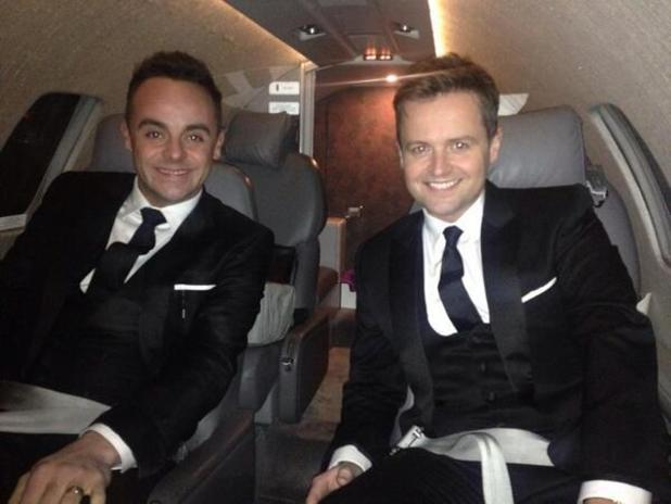 Ant and Dec pose for a selfie on a private jet as they head to the National Television Awards - 22 Jan 2014