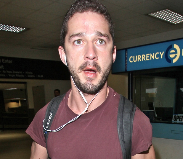 Shia LeBeouf is seen arriving at LAX Airport from London