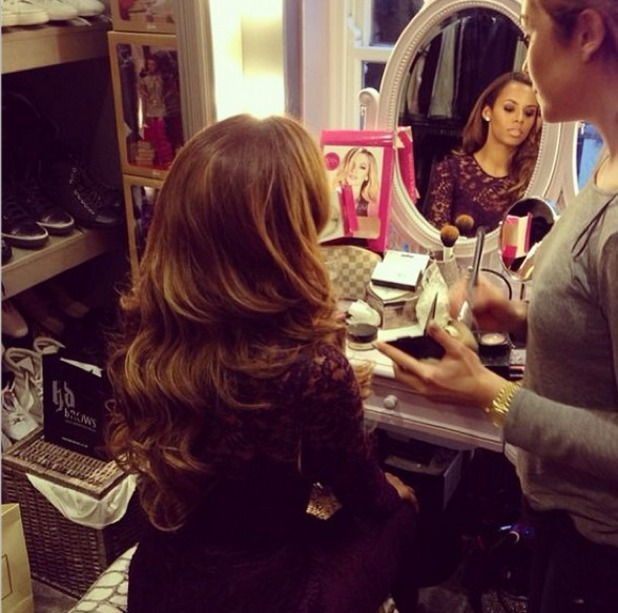 Rochelle Humes having her hair and make-up done before the National Television Awards, 22 January 2014
