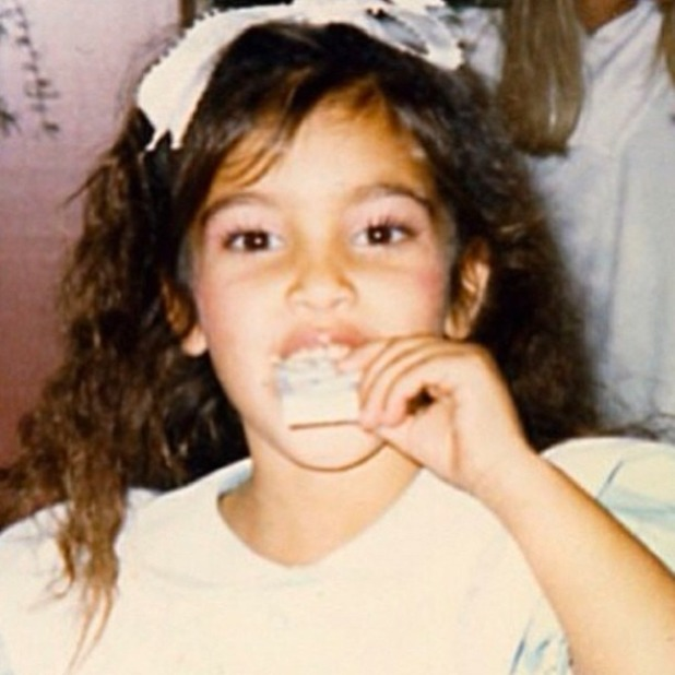Kim Kardashian shares cute picture of her birthday in 1984, 24 January 2014