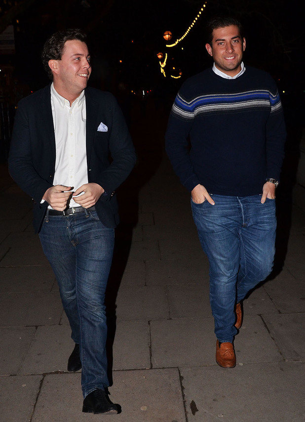 The Only Way Is Essex stars James 'Arg' Argent and James 'Diags' Bennewith attend Celebrity Speed Dating on the Foxy Love Boat by the River Thames in London. (20 January).
