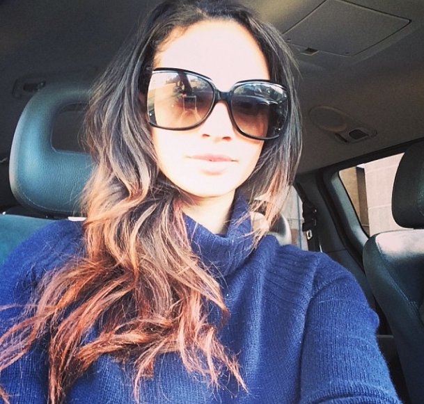 Alesha Dixon in the back of a taxi on the way to get her hair cut and coloured, 16 January 2014