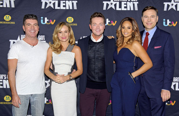 Simon Cowell, Amanda Holden, Stephen Mulhern, Alesha Dixon and David Walliams at the Britain's Got Talent auditions in Belfast, Northern Ireland 18 Jan 2014