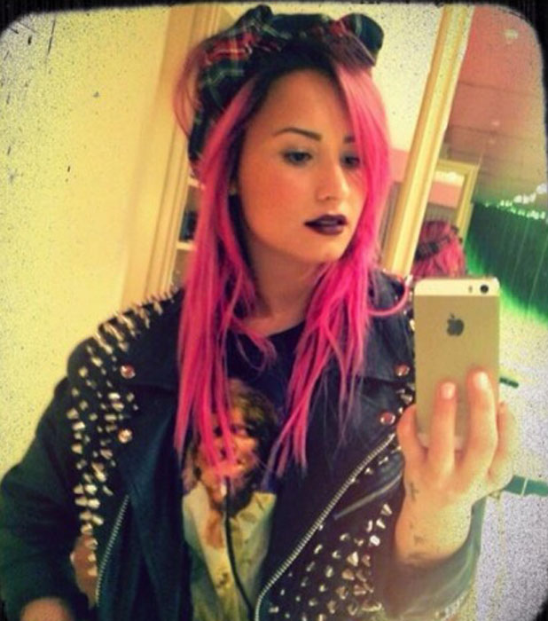 Demi Lovato dyes her hair pink ahead of Neon Lights Tour, posted to Twitter 23 January 2014