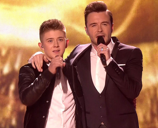 Nicholas McDonald performs 'Flying Without Wings' with Shane Filan on 'The X Factor Final', Shown on ITV1, December 2013