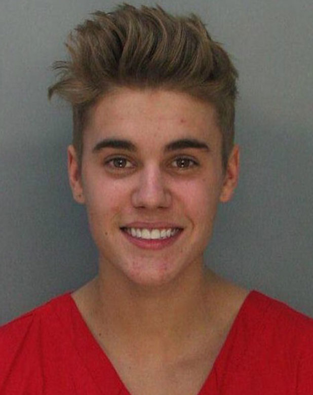 Justin Bieber's mugshot, tweeted by Miami Beach Police, 23 January 2014