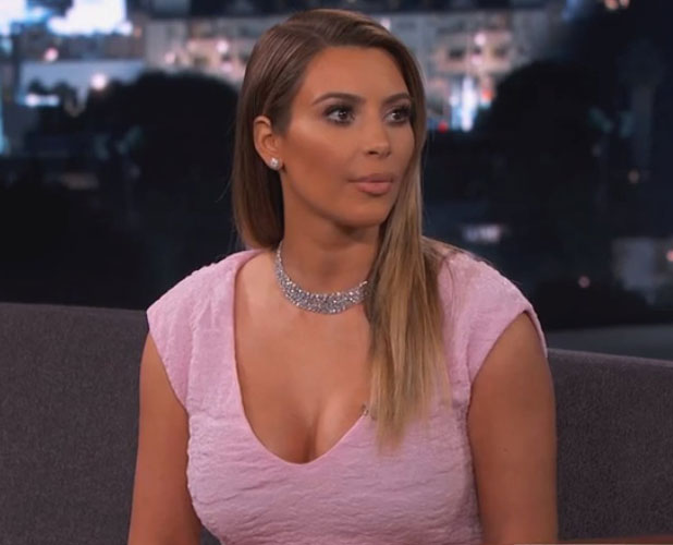 Kim Kardashian appears on Jimmy Kimmel Live, 23 January 2014