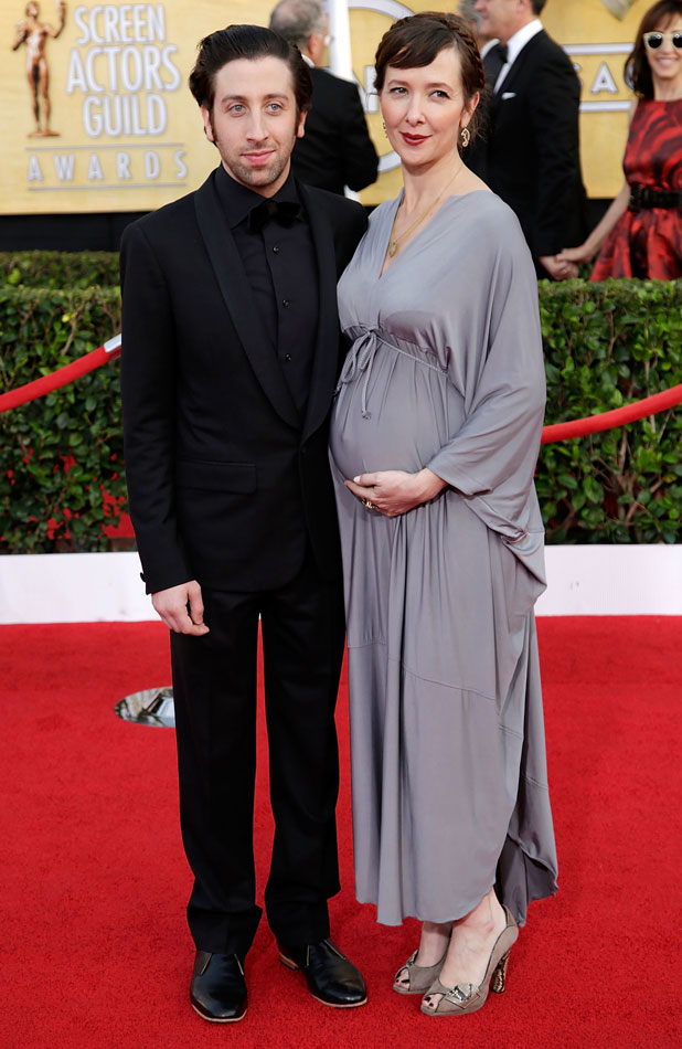 Simon Helberg and wife Jocelyn Towne. The 20th Annual Screen Actors Guild (SAG) Awards held at The Shrine Auditorium - Arrivals, 18 January 2014