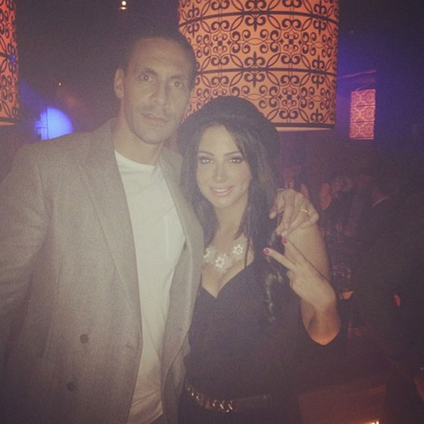 Tulisa shares a picture of herself with Rio Ferdinand on a night out in Manchester, 19 January 2014