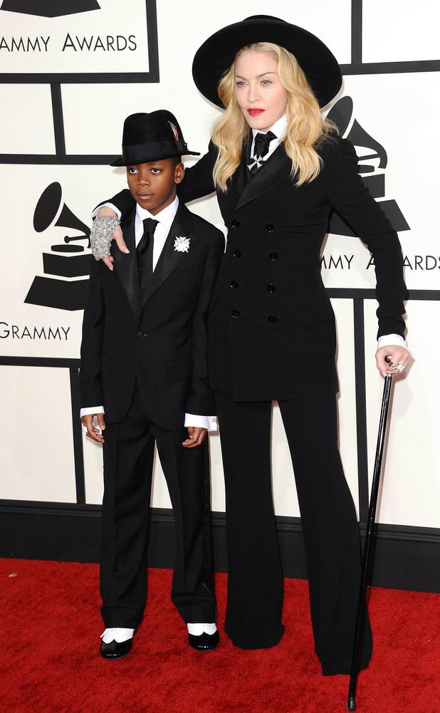 Madonna and David Banda, 56th Annual Grammy Awards, Arrivals, Los Angeles, America - 26 Jan 2014