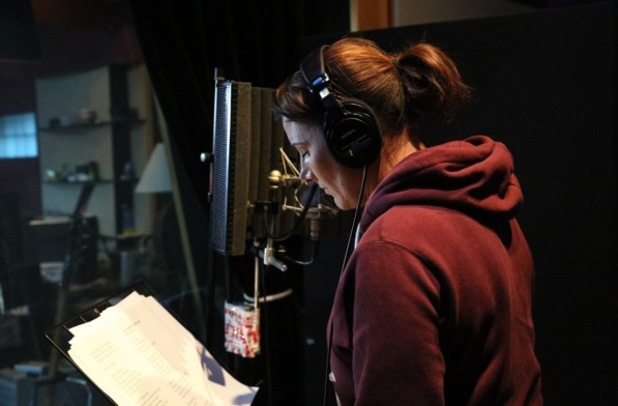 X Factor winner Sam Bailey in the recording studio for her new album, The Power of Love.