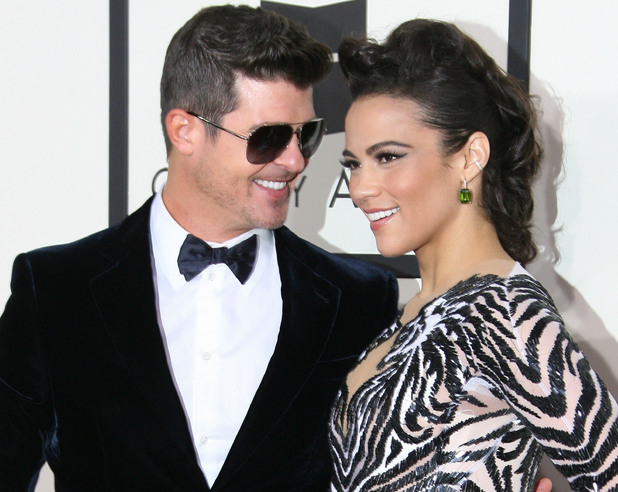 Robin Thicke, Paula Patton at The 56th Annual GRAMMY Awards held at the Staples Center - Arrivals - 26 January 2014