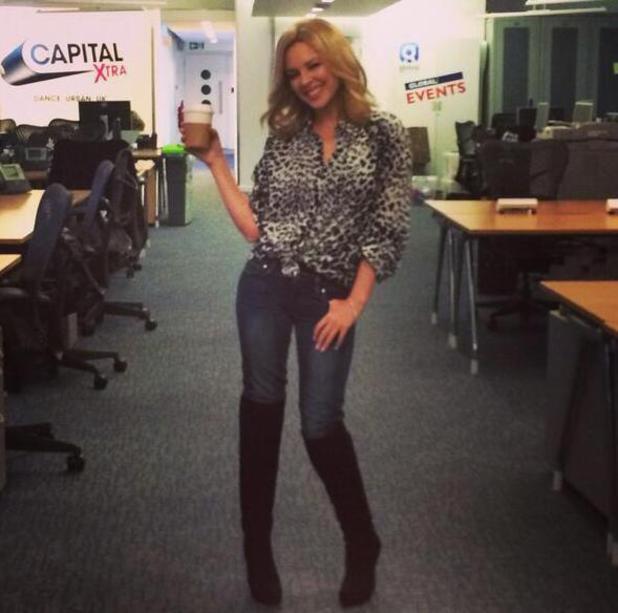 Kylie Minogue co-presents Capital FM's breakfast show. (28 January 2014).