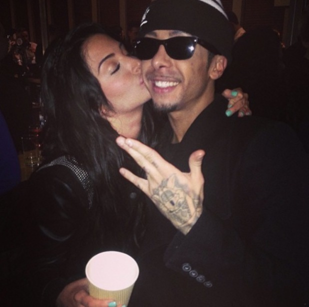 Tulisa kisses cousin Dappy on the cheek following Celebrity Big Brother's final last night (30 January).