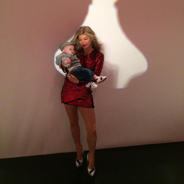 Fergie and five-month-old son Axl Duhamel on set of a photo shoot - 29.1.2014