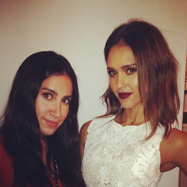Jessica Alba poses with hairdresser Jen Atkin while showing off her new haircut - 29 January 2014