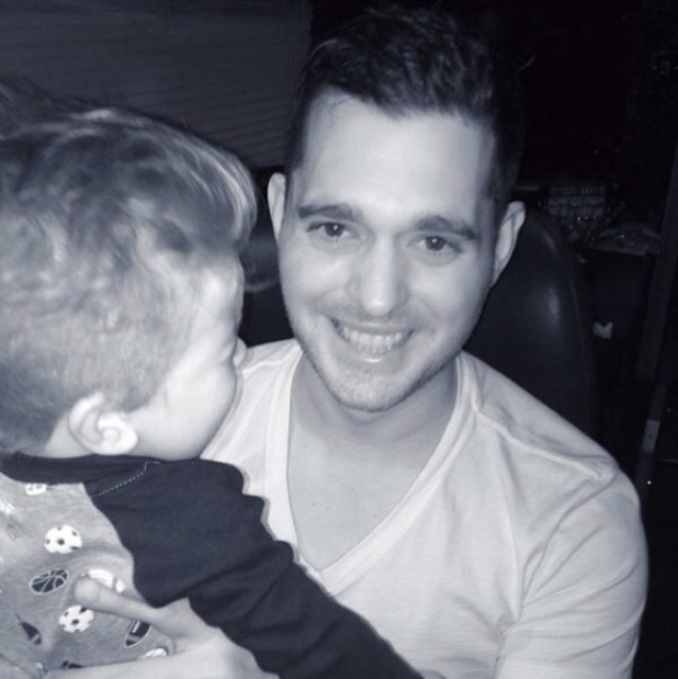 Michael Buble and son Noah in Barcelona - 31 January 2014