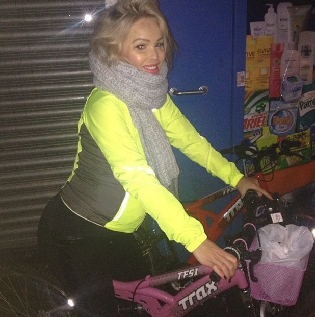 Katie Piper jumps on a bicycle to get food after craving snacks (26 January).