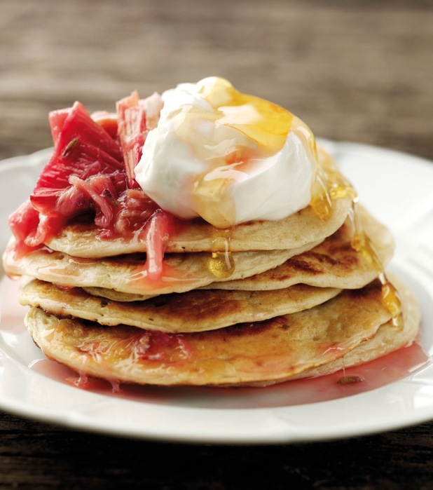 Yoghurt and buttermilk pancakes with roasted rhubarb and cinnamon compote
