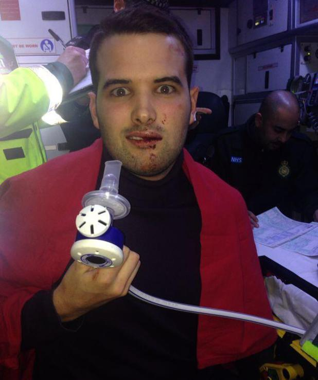 Ricky Rayment in an ambulance following car accident on 29.1.2014