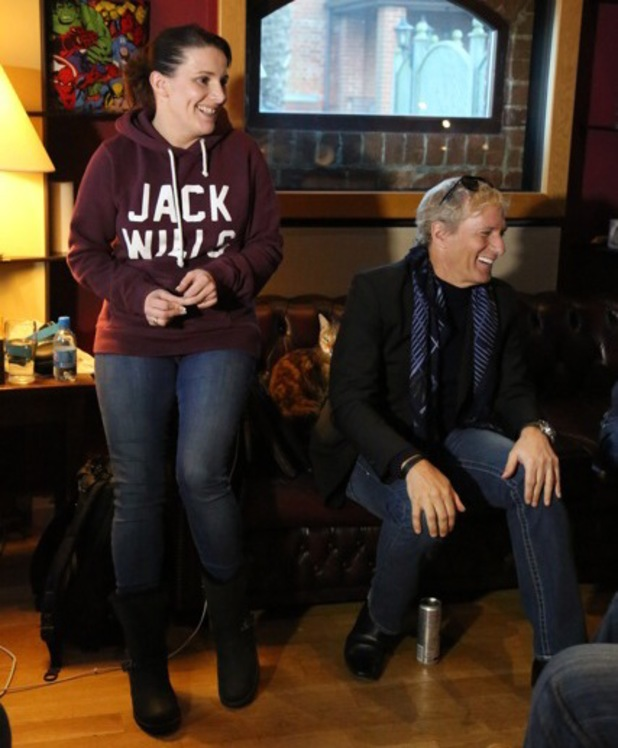 X Factor winner Sam Bailey in the recording studio with Michael Bolton for her new album, The Power of Love.