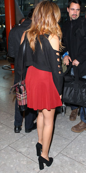 Jade Thirlwall, Little Mix girls seen arriving back at Heathrow from Tokyo, 28 January 2014