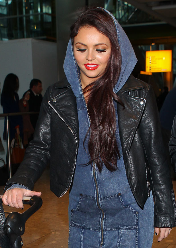 Jesy Nelson, Little Mix girls seen arriving back at Heathrow from Tokyo, 28 January 2014
