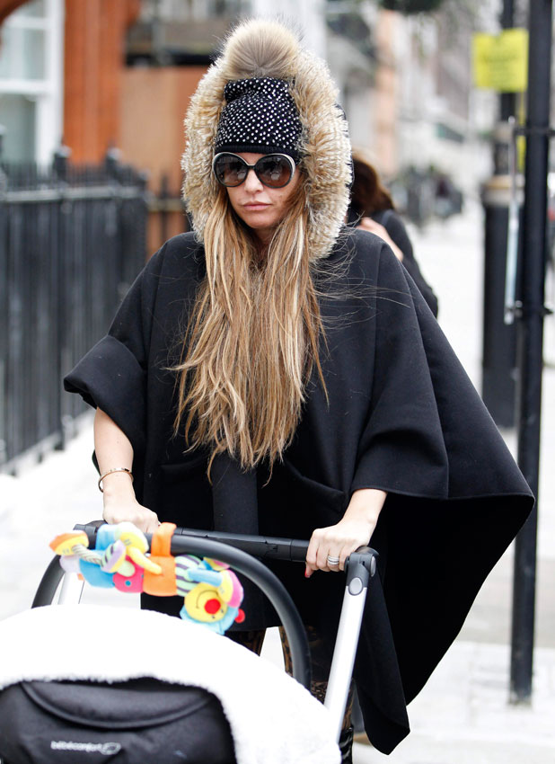 Katie Price out with baby Jett in London, 27 January 2014