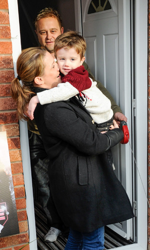 X Factor finalist Sam Bailey greets fans outside her family home in Leicester
