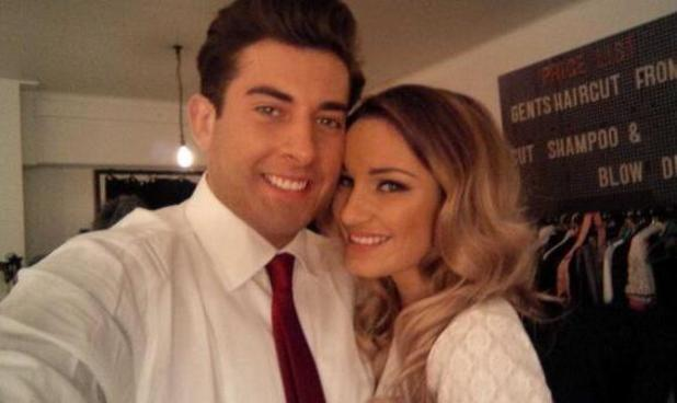 TOWIE's Sam Faiers, James 'Arg' Argent pose during photo shoot. (7 February).