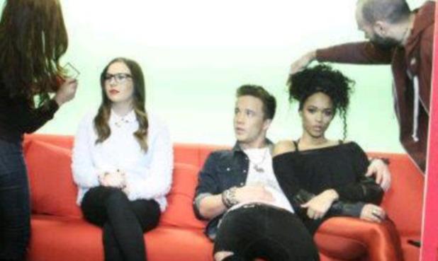 Tamera Foster, Sam Callahan, Abi Alton on set of Talk Talk photo shoot - 5.2.2014