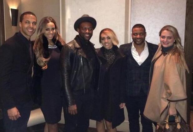 Marvin Humes and wife Rochelle join Oritsé Williams and girlfriend AJ Azari, along with JB Gill and his fiancée Chloe Tangney for dinner. (2 February 2014).