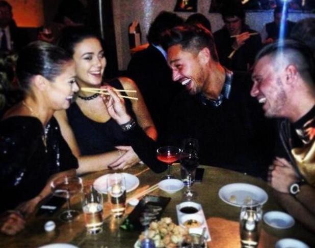 Chloe Sims, Charlie Sims and Mario Falcone have dinner at Nobu Berkley, 5 Feb 2014