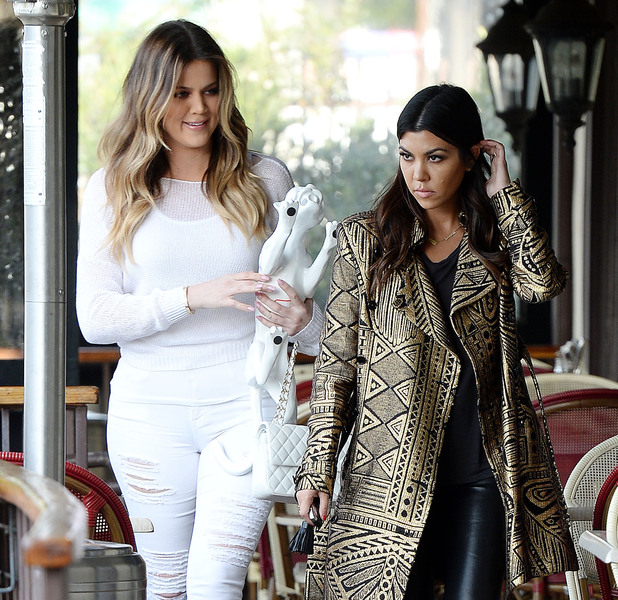 Khloe Kardashian and Kourtney Kardashian filming at Leo & Lily in Woodland Hills, Los Angeles, America - 31 Jan 2014