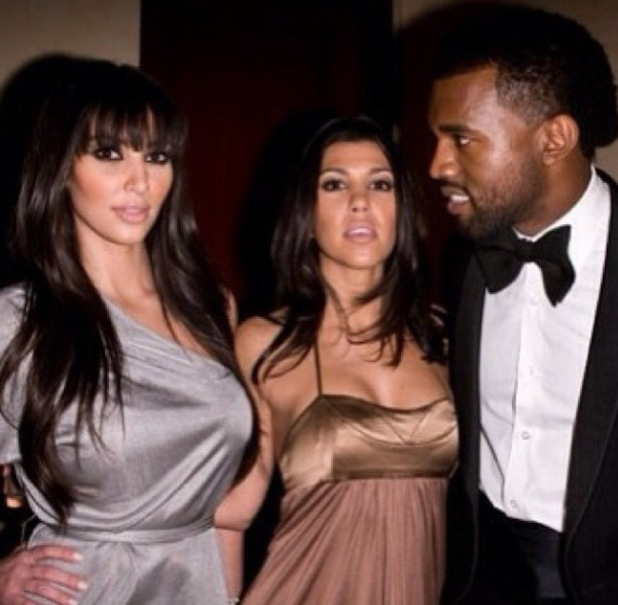 Kim Kardashian at a party with Kanye West and Kourtney Kardashian - throwback pic - uploaded 5 Feb 2014