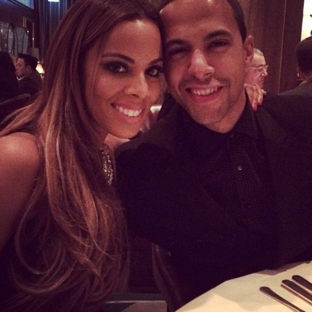 Rochelle Humes poses with husband Marvin at dinner (2 February 2014).