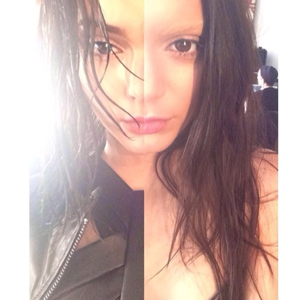 Kendall Jenner takes a half and half Instagram selfie - 6 February 2014