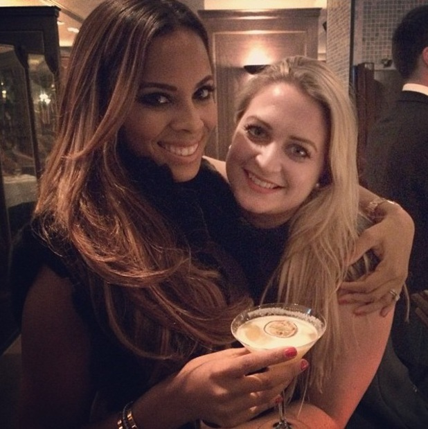Rochelle Humes poses with Chloe Tangney at dinner (2 February 2014).
