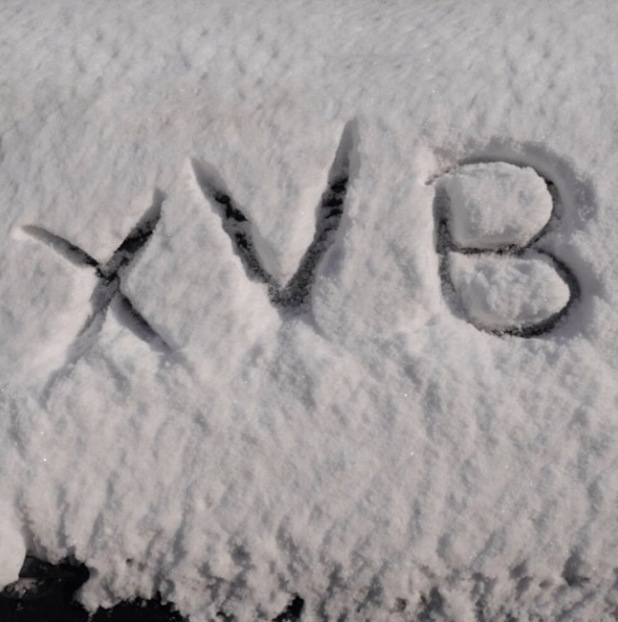 Victoria Beckham writes in the snow at NY Fashion Week 2014 - Feb 2014