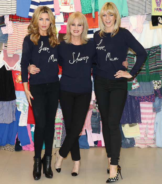Joanna Lumley, Abbey Clancy and Zoe Ball join forces to launch new 'Love, Mum' Shwopping campaign at Marks and Spencer. 04/02/2014
