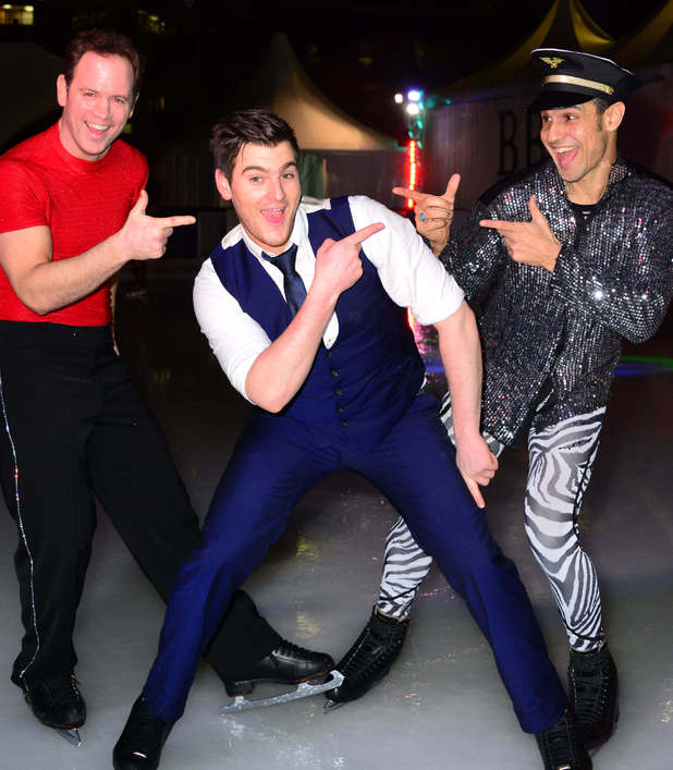 Celebrities at Broadgate Ice Rink, London, Britain - 06 Feb 2014 Kyran Bracken, Matt Lapinskas and Chico Slimani