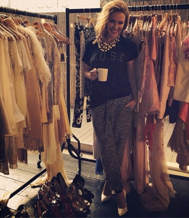 Kylie Minogue stops for a coffee break during a photoshoot - 3 February 2014