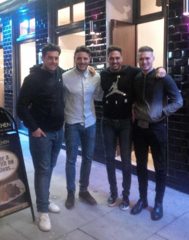 TOWIE's James 'Arg' Argent bumps into Mario Falcone and Charlie Sims at a restaurant. (4 February).