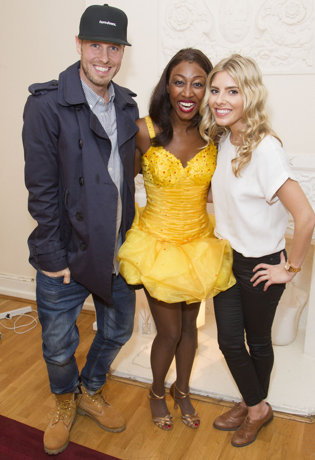 Mollie King, Jordan Omley and Beverley Knight backstage after The Bodyguard at the Adelphi Theatre, London, Britain - 05 February 2014