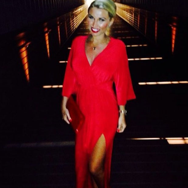 Pregnant Billie Faiers wears red wrap dress on last night of Maldives holiday, 3 February 2014