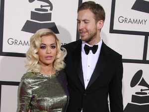 Rita Ora and Calvin Harris at The 56th Annual GRAMMY Awards (2014) held at the Staples Center in Los Angeles, CA. 26-1-2014 01/26/2014